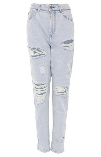 Light Blue Wash Extreme Ripped Mom Jeans offer at $22
