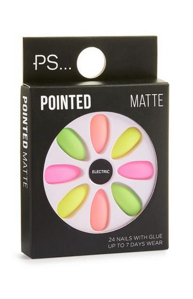Neon Pointed Matte Faux Nails offer at $2