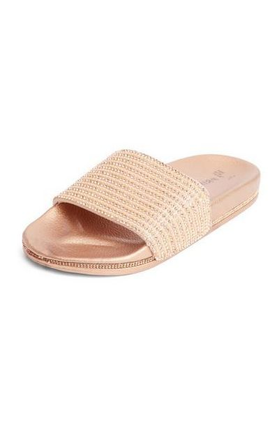 Rose Gold Faux Pearl Rhinestone Slides deals at $9