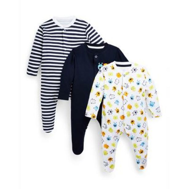 3-Pack Baby Boy Monster Print Sleepers deals at $13