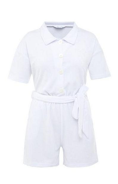White Terry Tie Waist Playsuit deals at $17