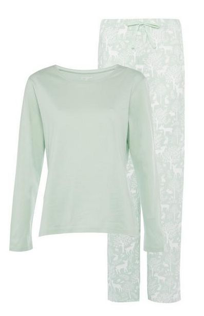 Light Green Sustainable Long Sleeve Pajama Set offer at $9