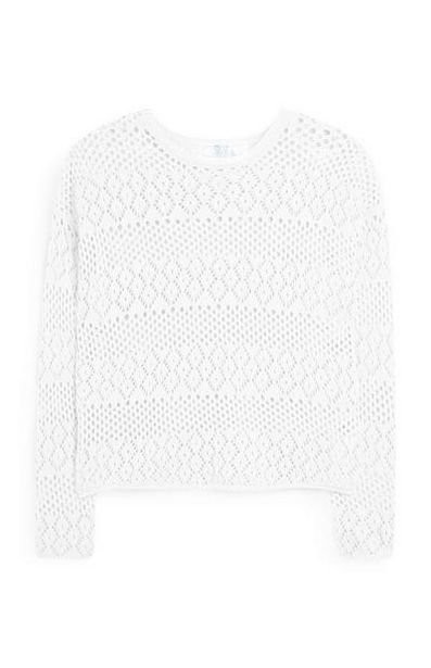 White Pointelle Long Sleeve Top offer at $14