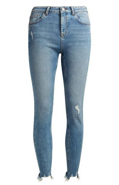 Mid Blue Distressed Ankle Jeans offer at $20