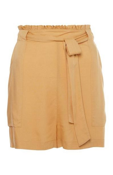Yellow Belted Viscose Shorts offer at $7