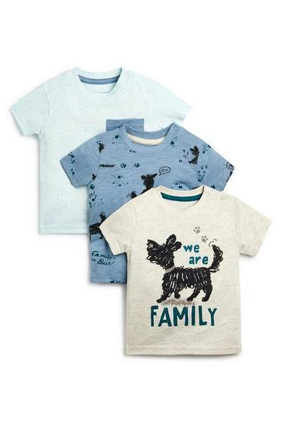 3-Pack Baby Boy Blue And White Family Dog T-Shirts offer at $8