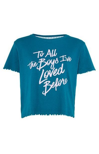 Teal To All The Boys Ribbed T-Shirt offer at $10