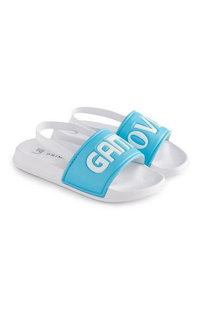 Younger Boy White And Blue Game Over Slides offer at $5