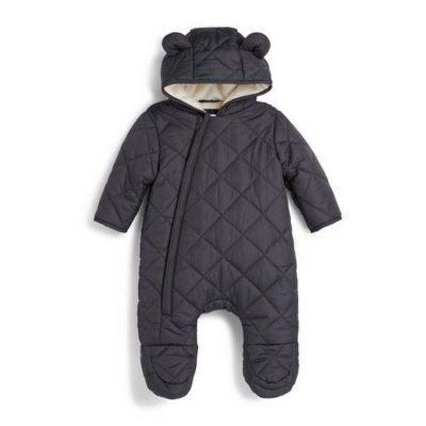 Newborn Boy Charcoal Quilted Snowsuit deals at $22