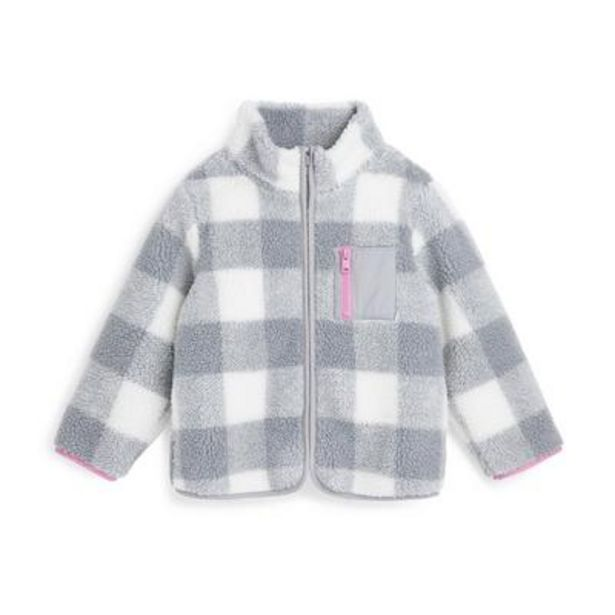 Younger Girl Gray Plaid Borg Jacket deals at $21