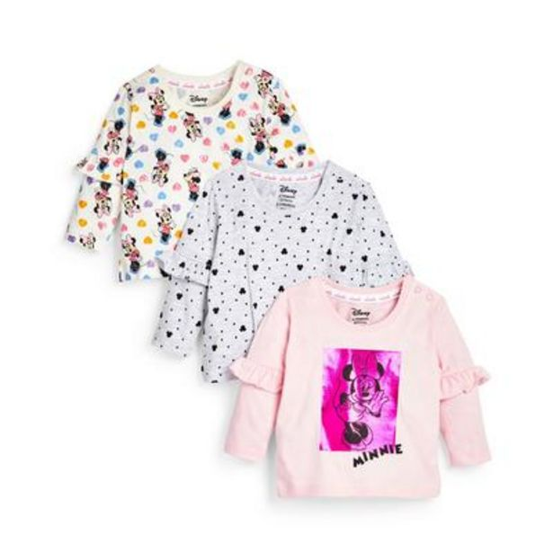 Baby Girl Disney Minnie Mouse Long Sleeve T-Shirts, 3 Pack deals at $13