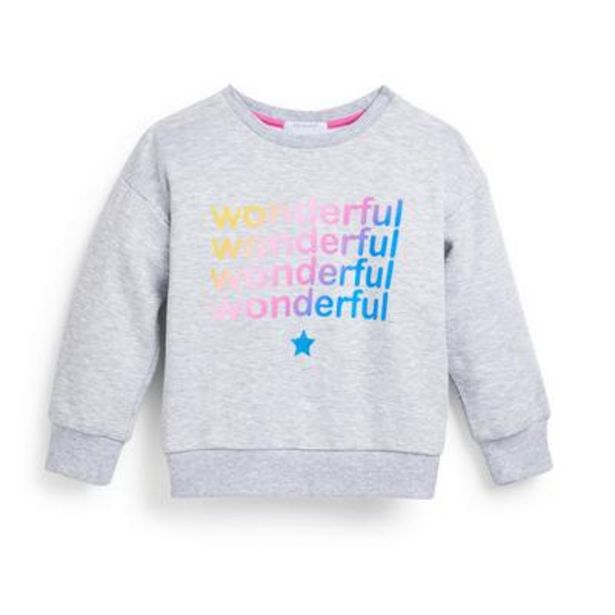 Younger Girl Gray Slogan Crew Neck Sweater deals at $6