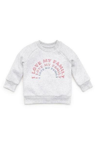 Baby Girl Light Gray Love My Family Print Crew Neck Sweatshirt offer at $4.5