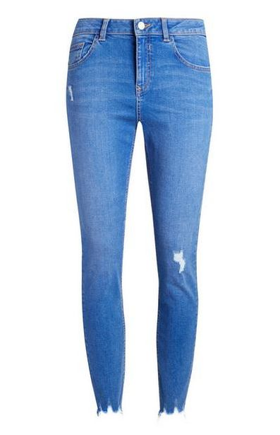 Bright Blue Distressed Ankle Jeans offer at $20