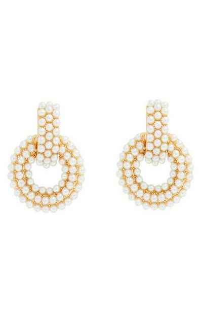 Gold Pearl Circle Drop Earrings offer at $5