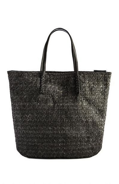Black Straw Zip Top Shopper offer at $12