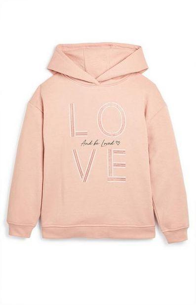 Older Girl Pink Love Slogan Hoodie offer at $8