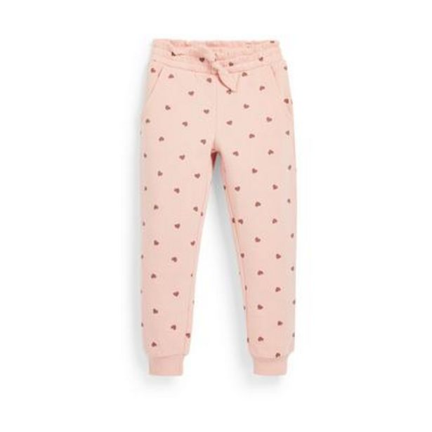 Younger Girl Pink Heart Print Joggers deals at $7