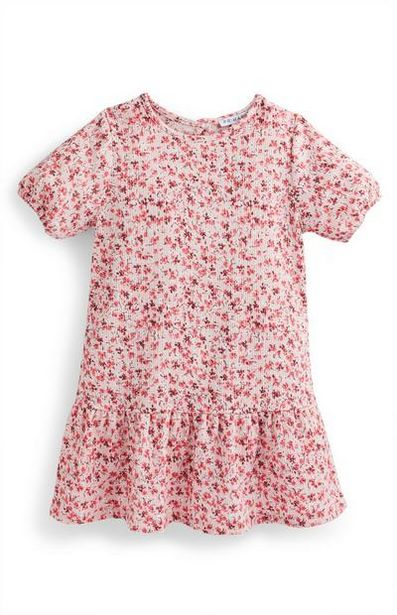Younger Girl Pink Floral Puff Sleeve Crinkle Dress deals at $12