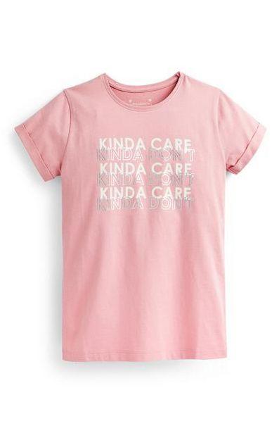 Older Girl Pink Slogan T-Shirt deals at $4