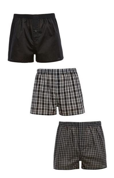 3-Pack Black Check Print Woven Boxers offer at $7