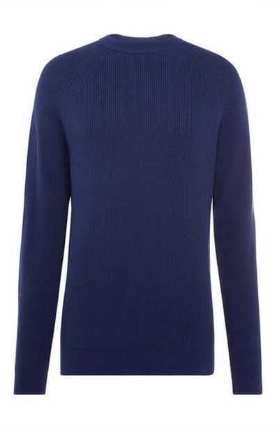 Navy Textured Crew Neck Sweater offer at $15