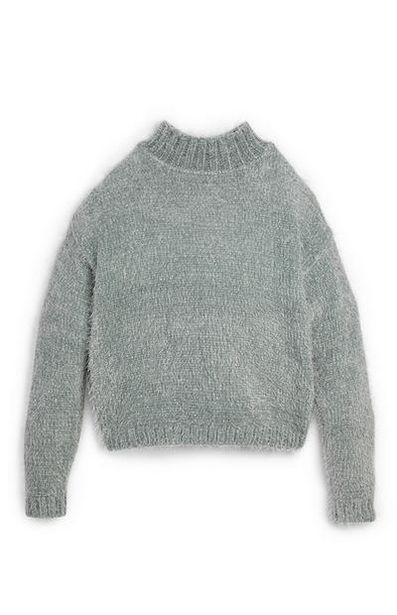 Older Girl Gray Fluffy Mock Neck Sweater offer at $15
