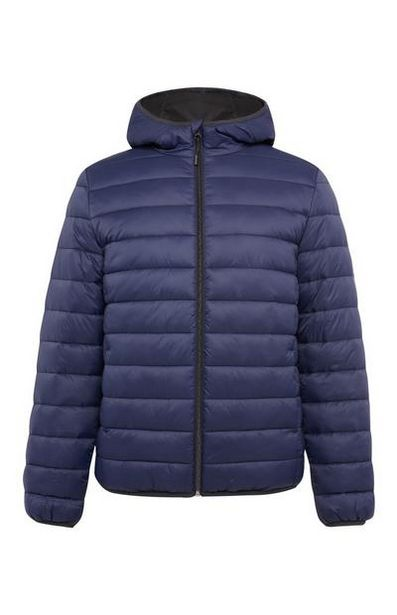 Navy Hooded Puffer Jacket offer at $25