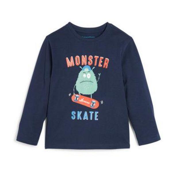 Younger Boy Navy Monster Print Long Sleeve T-Shirt deals at $4