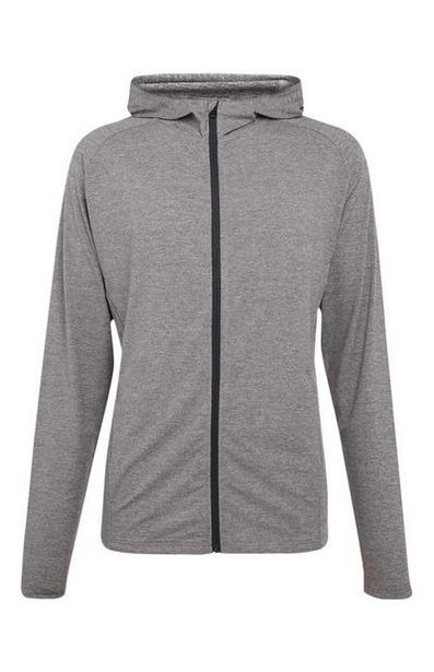 Gray Super Stretch Zip Top offer at $18