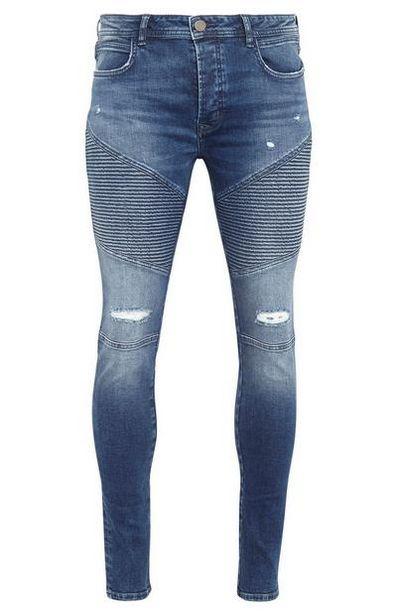 Mid Blue Skinny Ripped Biker Jeans deals at $29
