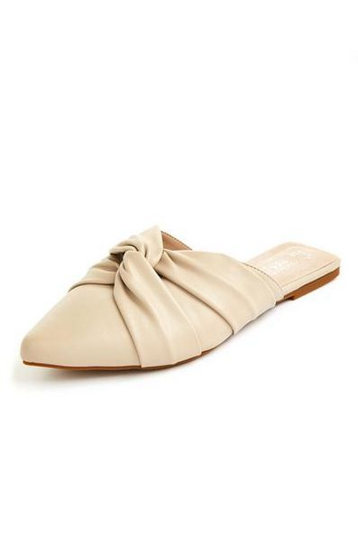 Cream Soft Knot Pointed Toe Flat Mules deals at $13