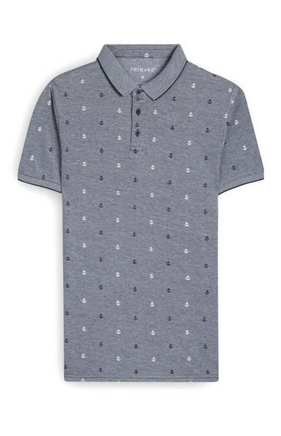 Gray Anchor Print Polo offer at $10