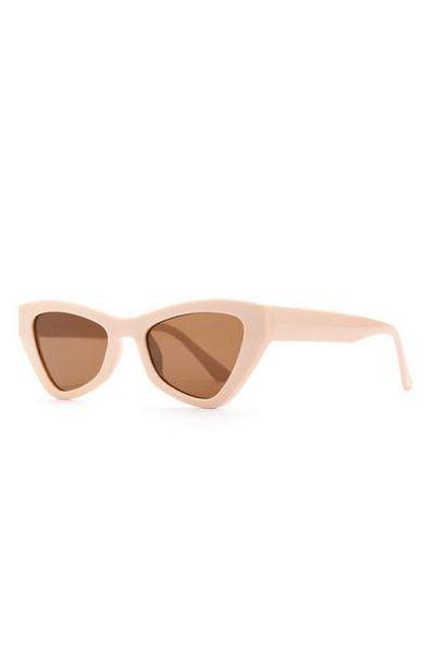Beige Chunky Angular Cat Eye Sunglasses offer at $3.5