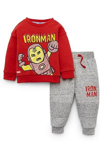 Baby Boy Disney Iron Man Red Sweatshirt And Gray Joggers Set offer at $16