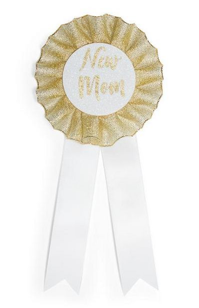 White And Gold New Mom Badge offer at $4