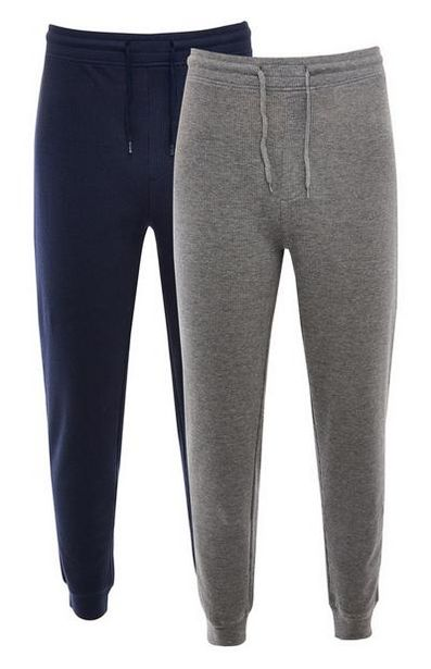 Navy And Gray Waffle Tie Waist Joggers deals at $17