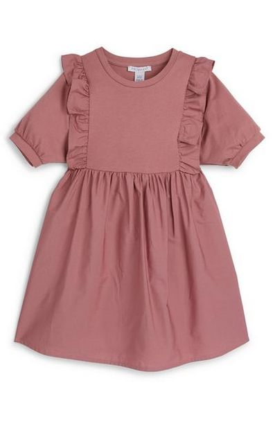 Younger Girl Blush Pink Puff Sleeve Poplin Dress offer at $12