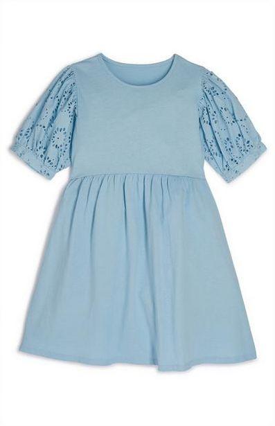 Older Girl Blue Pleated Sleeve Eyelet Dress offer at $13