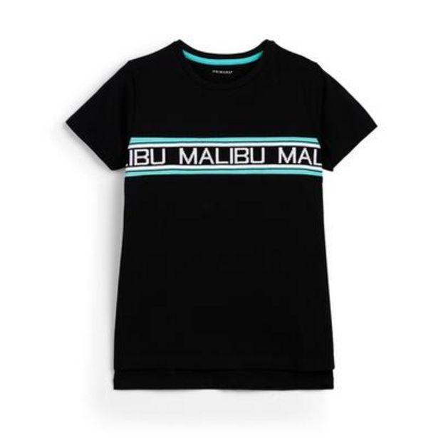 Older Boy Black Malibu Ribbed T-Shirt deals at $8