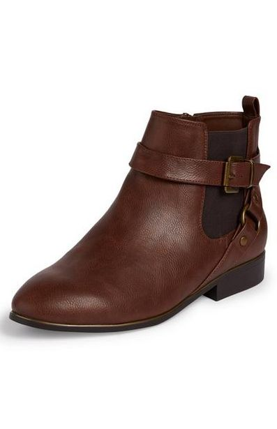 Brown Faux Leather Buckle Strap Chelsea Boots offer at $18