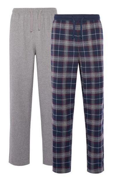 2-Pack Blue Check & Gray Pajama Pants offer at $16