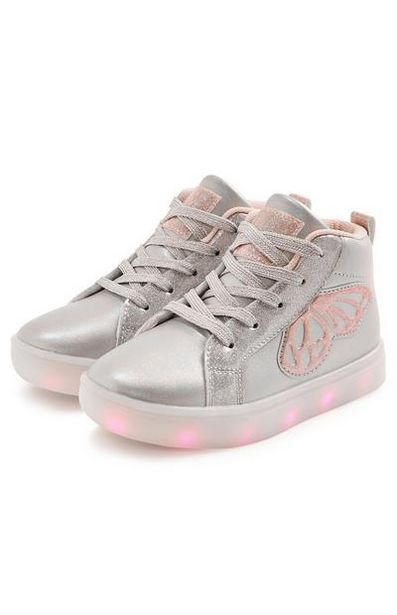Younger Girl Silver Butterfly Light Up High Tops offer at $20