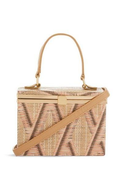 Straw Hard Box Crossbody Bag offer at $14