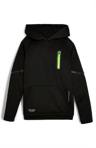 Younger Boy Black Active Ottoman Hoodie offer at $14