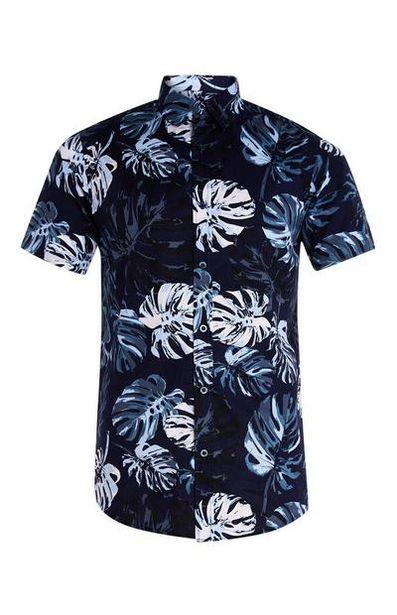 Short Sleeve Tropical Leaf Cotton Shirt deals at $11