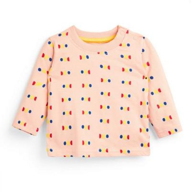 Baby Boy Peach Dot Print Long Sleeve T-Shirt deals at $3