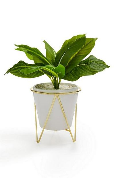 White And Gold-Tone Faux Potted Plant deals at $12
