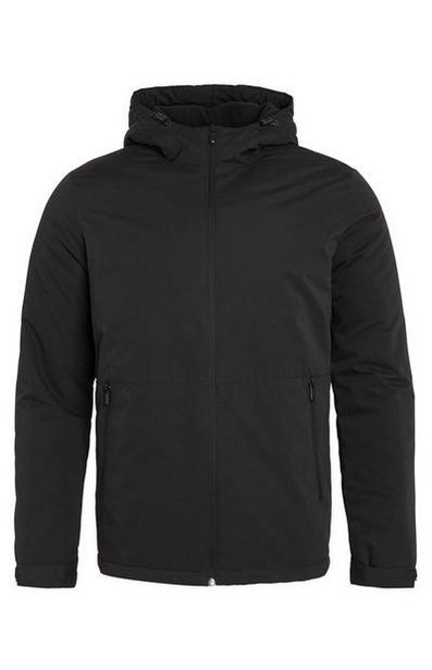 Black Hooded Zip Jacket With Pockets deals at $25