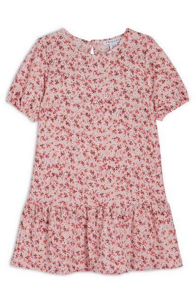 Younger Girl Red Floral Puff Sleeve Crinkle Dress offer at $12